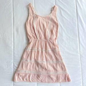 Pink Lace Boho Flowy V Back Dress